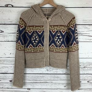 Free People Wool Fair Isle Cropped Hooded Sweater
